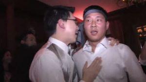 Wainwright Wedding tie on head