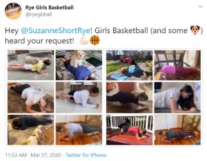 Rye Girls Basketball Planking tweet