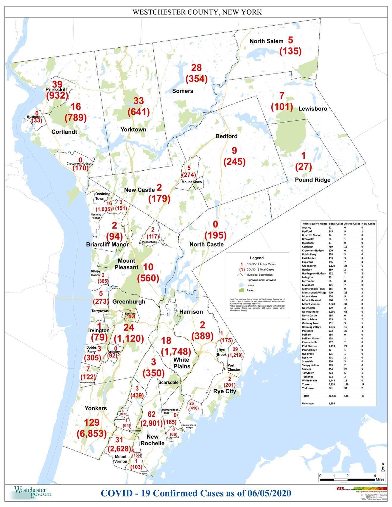 COVID-19 Westchester Map 06-05-2020