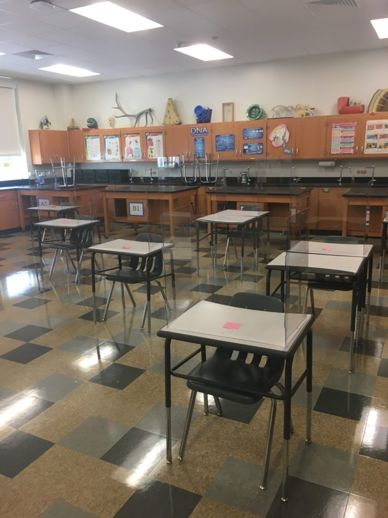 Rye schools polycarbonate desk dividers