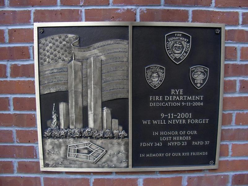 9-11 plaque on Rye FD HQ dedicated 9-11-2008