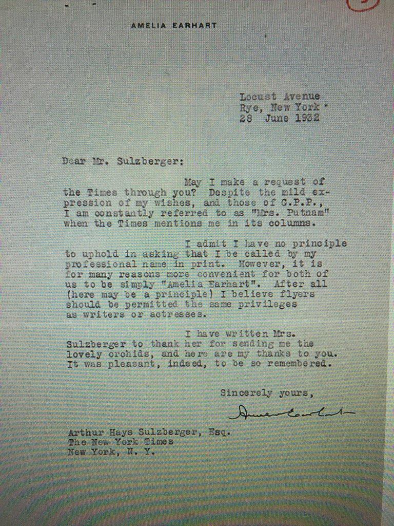Amelia Earhart Rye, NY letter
