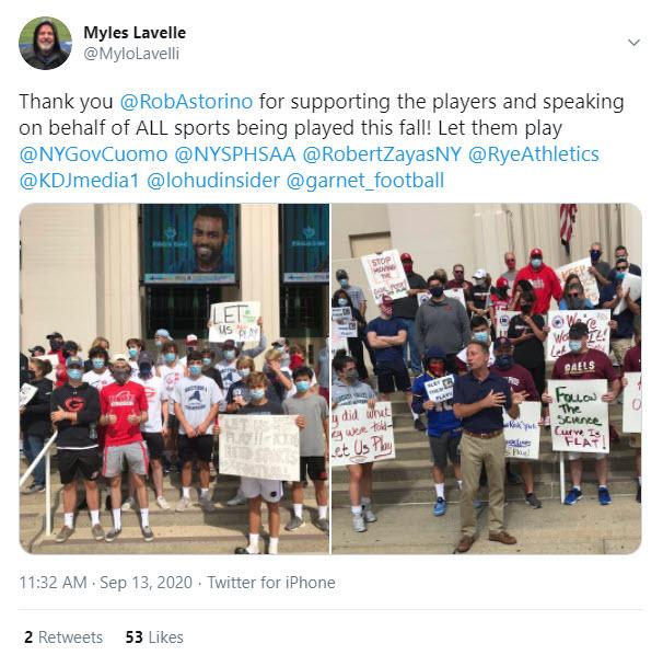 Myles Lavelle tweet on football season 9-13-2020