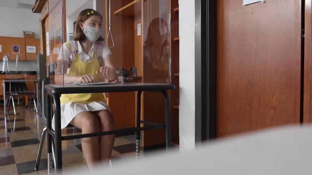 Rye High School vlogger, Lesley Lachman - polycarbonate desk shield