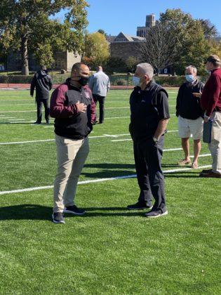 Harrison Football Coach Jay Ciraco with Rye Football Coach Dino Garr