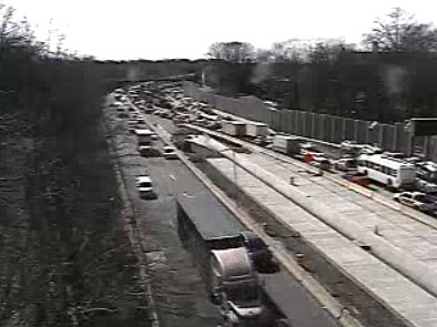 I-95 just before the CT State line on 02-26-2021. closest lane is northbound