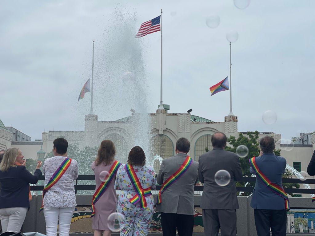 Pride flag raising at Rye Playland on Friday, June 4, 2021