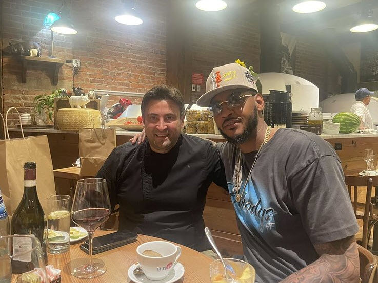 Carmelo Anthony at Rafele Rye with Raffaele Ronca, executive chef