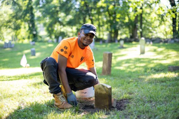 Restoration work at Rye's African-American Cemetery in June 2021 - 1