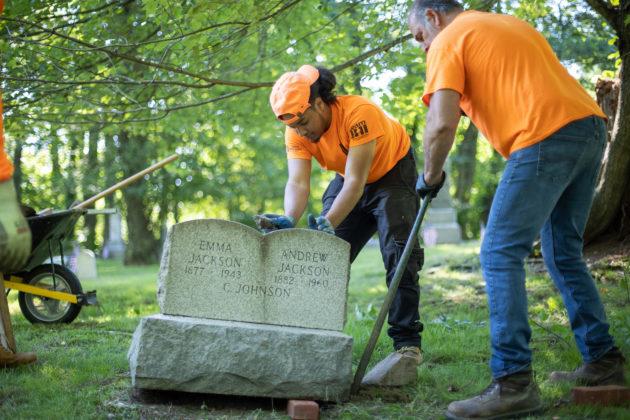 Restoration work at Rye's African-American Cemetery in June 2021 - 2