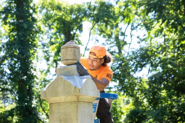 Restoration work at Rye's African-American Cemetery in June 2021 - 3