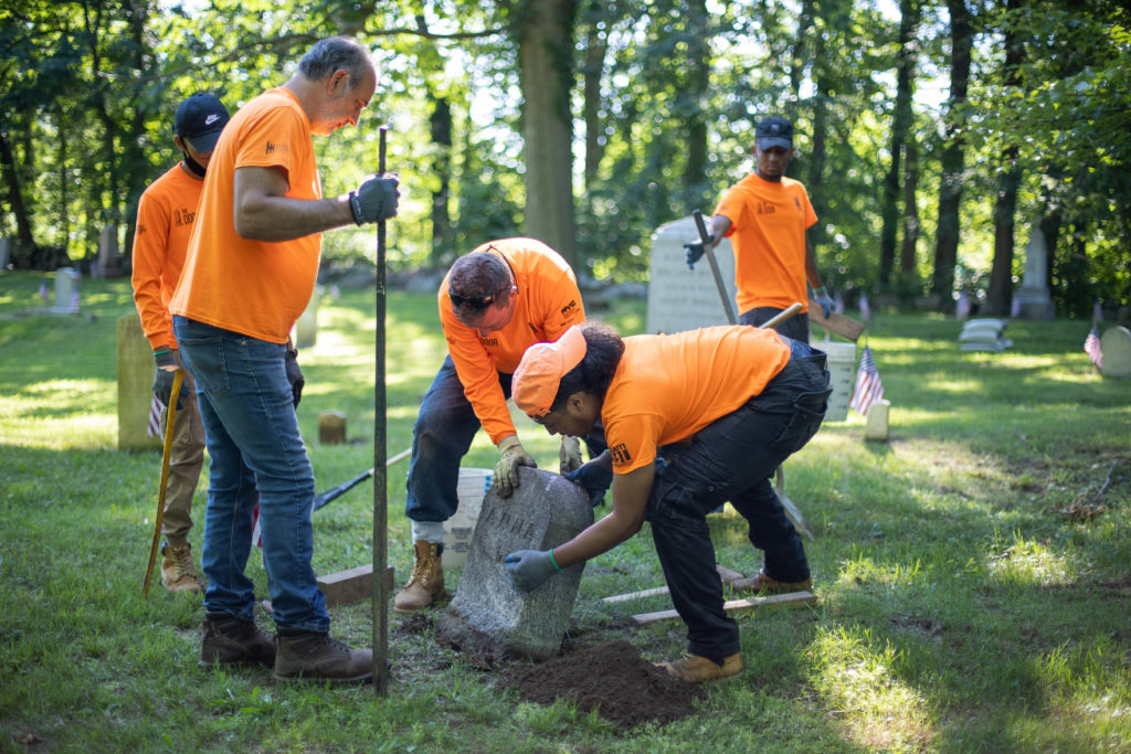 Restoration work at Rye's African-American Cemetery in June 2021 - 4