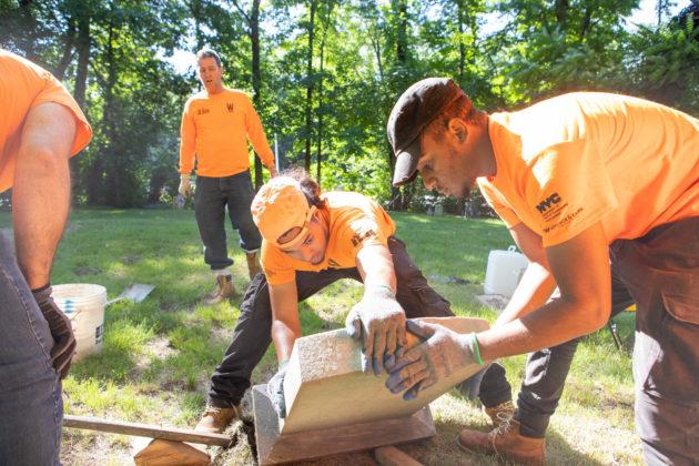Restoration work at Rye's African-American Cemetery in June 2021 - 5