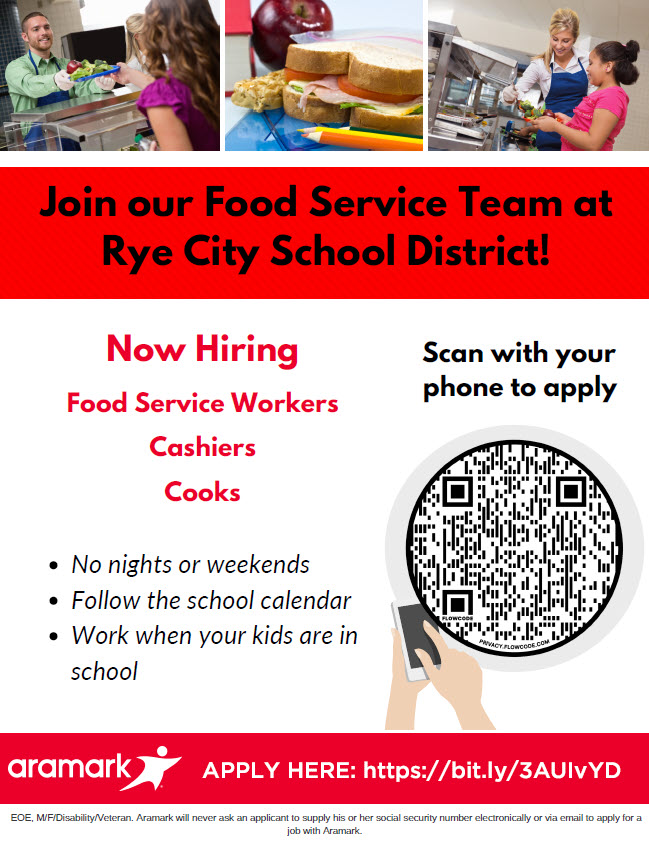 Rye City School District food service jobs 2021
