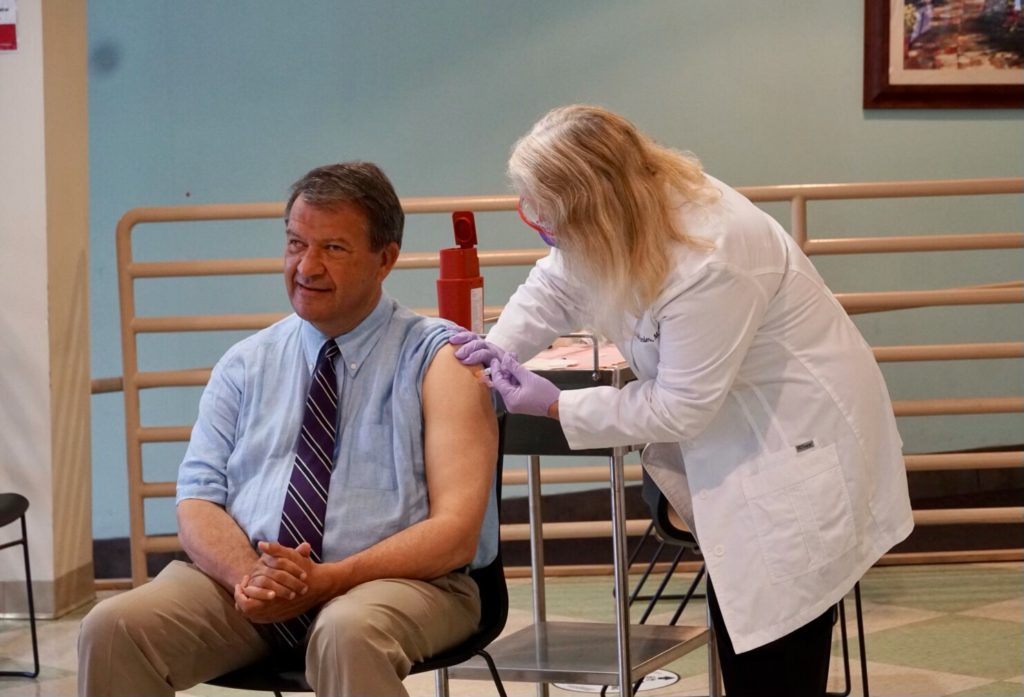 Rye Guy and County Boss George Latimer gets his flu shot September 23, 2021